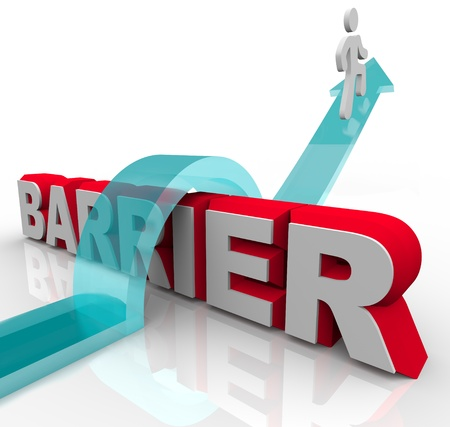 barrier: A man rides a rising arrow over the word Barrier, symbolizing the ability to overcome an obstacle on the way to success