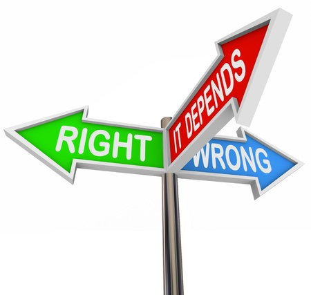 ethics and morals: Three colorful arrow signs reading Right, Wrong and It Depends, illustrating the difficulty in choosing between two opposite scenarios when a middle ground is needed depending on the situation