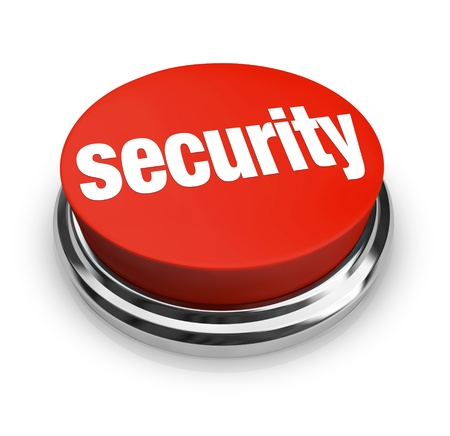 id theft: A red button with the word Security on it, symbolizing the desire to protect yourself from danger and crime