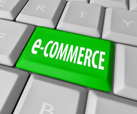 A keyboard with a green key reading e-Commerce, symbolizing the online business of a web-based retailer or other service provider Stock Photo - 9514993