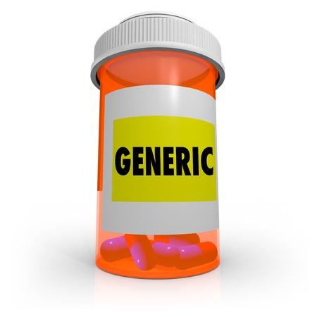 An orange prescription bottle that contains several pills has a label that reads Generic Stock Photo - 9514991