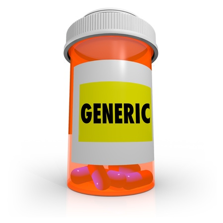 generic drugs: An orange prescription bottle that contains several pills has a label that reads Generic