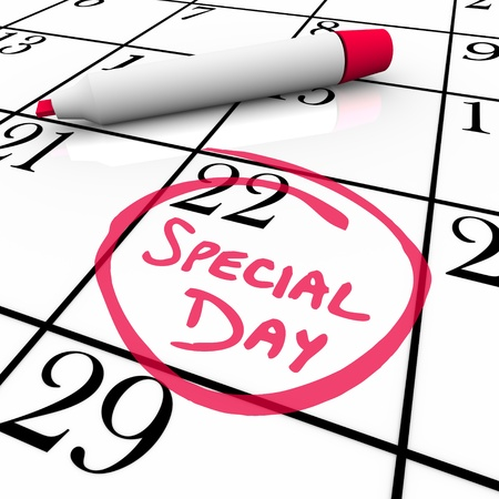 The words Special Day are circled on a white calendar with a red marker photo