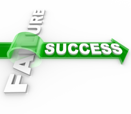 inspiration determination: The word Success jumping over the word Failure on top of an arrow, symbolizing the overcoming of an obstacle and achieving your goals