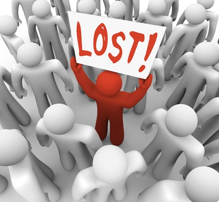 fear illustration: A red person stands out in a crowd holding a sign reading Lost Stock Photo