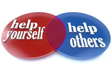 Een venn-diagram toont twee overlappende cirkels, de voordelen die u en anderen ervaren kunnen door het doneren van uw tijd en inspanningen aan een goed doel aan te tonen Stockfoto