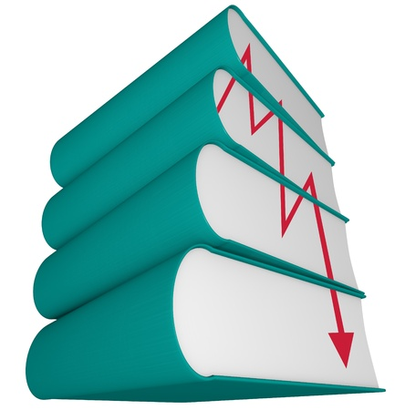publishers: An arrow plunges, depicted on the side of a stack of books, representing the death of the old-fashioned publishing industry in an era of e-books and new media Stock Photo
