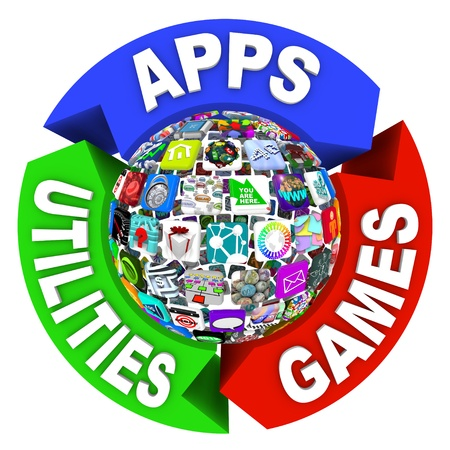mobile app: A flowchart diagram of tiles showing applications in a sphere pattern, surrounded by arrows reading Apps, Utilities and Games