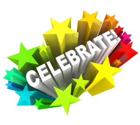 Het woord vieren omringd door vallende sterren, symbool van opwinding voor een feest of een viering voor zijn succes of speciale gebeurtenis