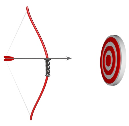 A bow and arrow is held aiming at a target bulls-eye, representing concentration as you focus on succeeding in hitting your goal Stock fotó - 9596883