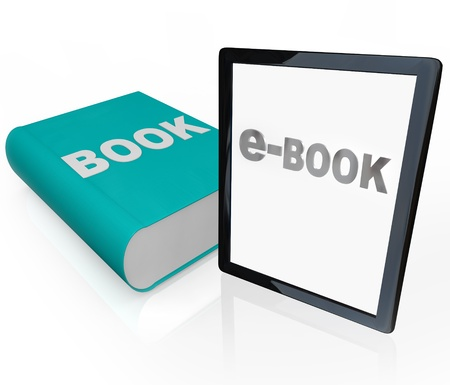 A traditional printed book next to a new e-book, symbolizing the current battle and comparison readers make between choosing a book in old-fashion print vs electronic media Archivio Fotografico