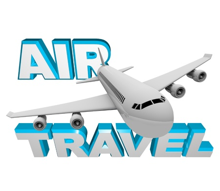 Book a flight for Air Travel, photo depicting an airplane jet soaring in front of words representing airline transportation for vacation or business getaway