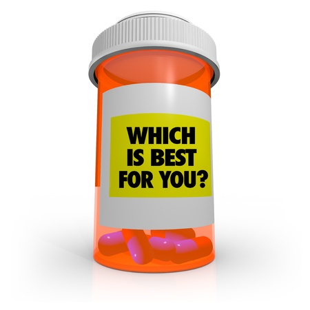 An orange prescription bottle that contains several pills has a label that reads Which is Best for You? Stock Photo - 9596889