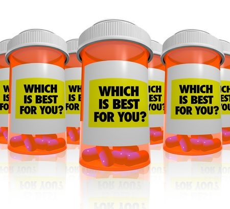 which: Many orange prescription bottles, each with a label that reads Which is Best for You, symbolizing the comparisons and research that must be done to choose the medicine that works best for a patient