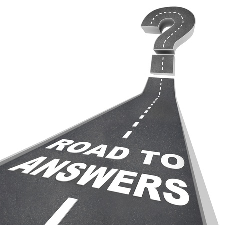 financial questions: The words Road to Answers in white letters on a street leading to a question mark, symbolizing the need to seek solutions to questions and challenges