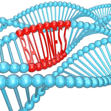 sequencing: The word Baldness hidden in strands of DNA, representing the cause of balding in your genes