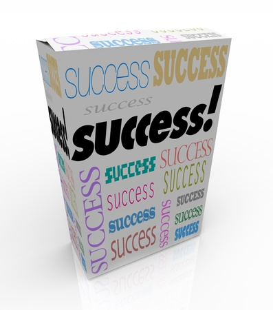 succeeding: A product box with with the word Success calling attention to it, symbolizing the self-help movement offering improvement tips and techniques via channels such as infomercials Stock Photo