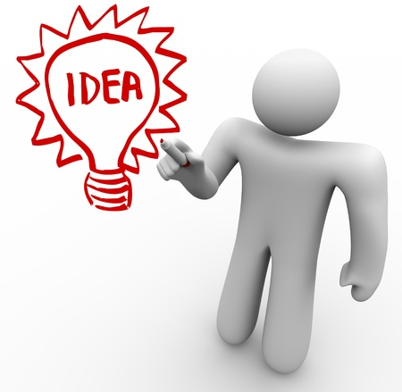 A person stands before a clear glass board and draws a light bulb with the word Idea in it as he brainstorms and thinks of an innovation that solves a problem