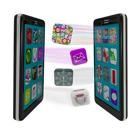 mobiele telefoons: Twee slimme telefoons tegenover elkaar staan, downloaden en uploaden van toepassingen zien app iconen streaming tussen de twee, die e-mail, sms en andere vormen van communicatie Stockfoto