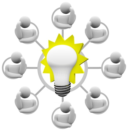 Een raster van genetwerkte teamleden - misschien een crowdsource groep - brainstorms een oplossing voor een probleem