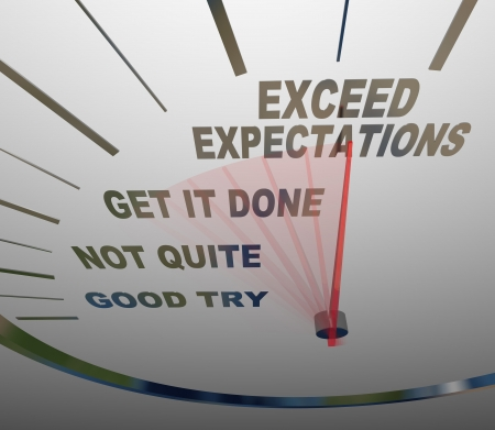 exceeding: A speedometer with the words Exceed Expectations represents the surpassing of expectations of the people you deal with, whether they are customers, superiors or others who need things from you Stock Photo
