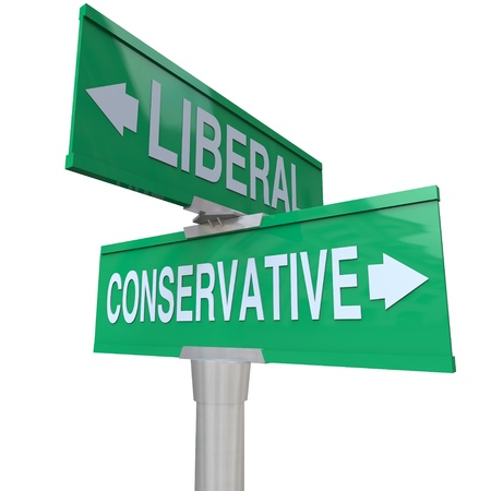 two party system: A green two-way street sign pointing to Liberal and Conservative, representing the two dominant political parties and ideologies in national and global politics