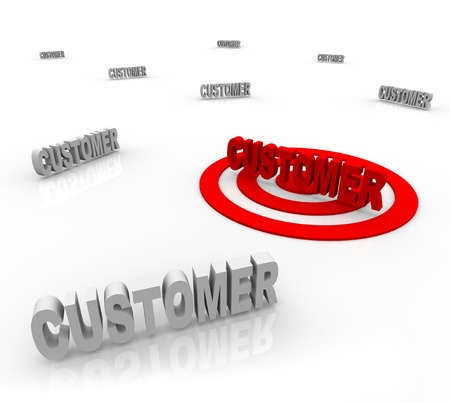 The word Customer is targeted with a bullseye surrounded by other customers, symbolizing target marketing and honing on on a niche market Stock Photo - 9673427