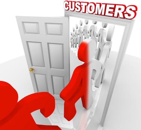 A line of people step through a doorway marked Customers and become transformed from prospects into new buyers, illustrating a successful marketing to selling process and campaign Banco de Imagens