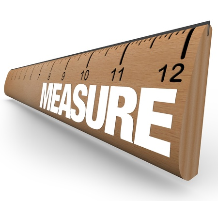 estimate: A wooden ruler with the word Measure, illustrating the need to do measurements to quantify objects or processes