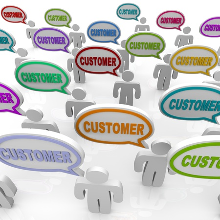 Many people speak with speech bubbles with the word Customer in them, illustrating the unique needs of different customers in a targeted market Banco de Imagens
