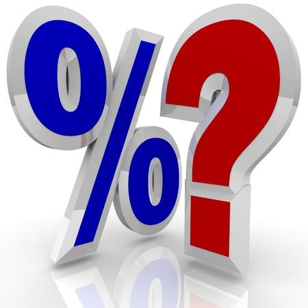 Un symbole de pourcentage est à côté d'un point d'interrogation, illustrant l'interrogatoire de savoir si un certain taux d'intérêt pour cent est le meilleur ou si plus de comparaisons et de recherche devrait être fait Banque d'images
