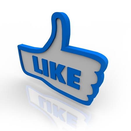 A blue outlined thumbs up icon for approving or liking a website or object under review Stock Photo - 9748111