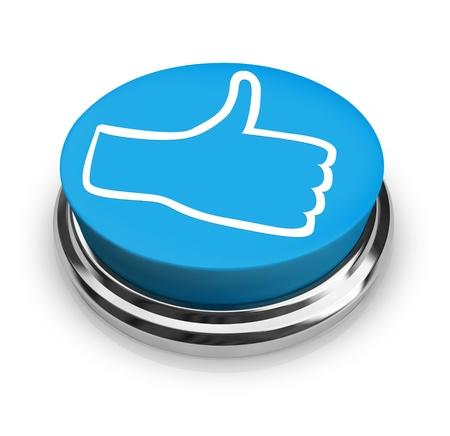 thumbs up icon: Un bot�n redondo azul con un pulgar icono ilustrando un examen positivo dentro de una red social o otros internet o foro p�blico Foto de archivo