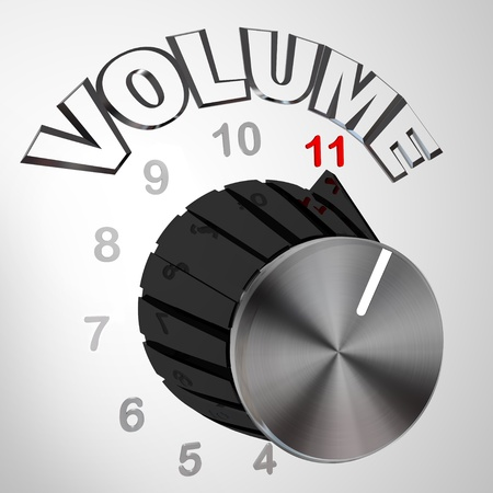 loud: A volume dial or knob turned all the way to 11 surpassing and exceeding the normal maximum sound on a speaker or amplifier, resembling a famous scene from a mock rock documentary