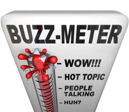 버즈 - 미터 (Buzz-Meter)라고 표시된 온도계는 입소문이나 그 순간의 유행으로 인해 현재의 유행, 사람, 사건 또는 다른 현대적 일의 인기를 측정합니다. 스톡 콘텐츠