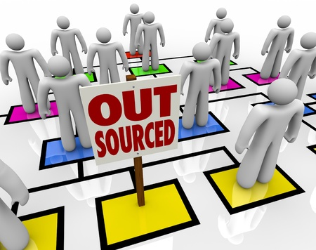 offshoring: An empty square in an organizational chart with a sign reading Outsourced, showing an open position from an employee who has been eliminated and his position moved offshore