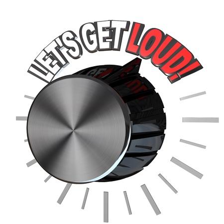 exceeding: Un dial de volumen hacia las palabras vamos a obtener fuertes, ilustrando la emoci�n de un rally de pep que se alienta a un equipo para obtener motivaci�n