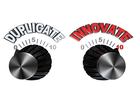 inventing: Two dials showing opposite approaches to creating a new product or solving a problem: you can either copy or duplicate an existing idea or innovate and create your own solution, process or device Stock Photo