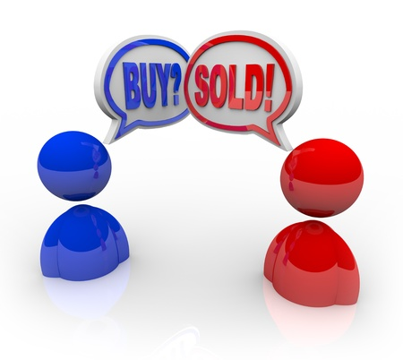 Two illustrated business people with speech bubbles and the words Buy and Sell symbolizing that they have entered into a deal or transaction concerning the exchange of goods or money Stock Photo - 9748130