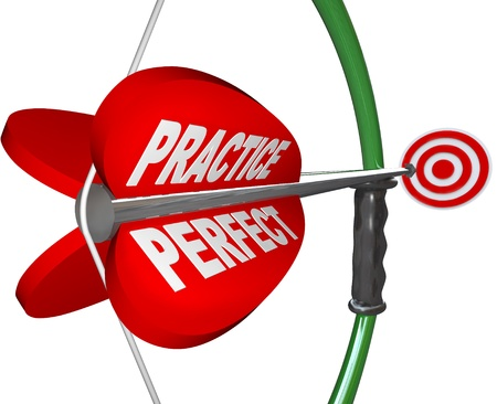 practise: An arrow  with the words Practice and Perfect pulling back on the bow and aiming at a bulls-eye target, illustrating the importance of practicing a skill to reach success and meet a goal Stock Photo