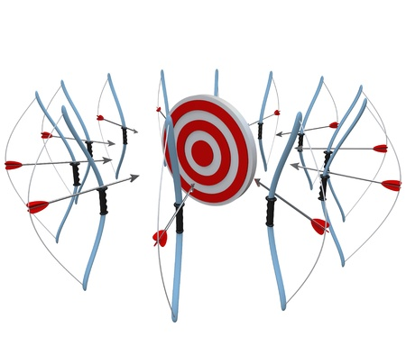 pessoas: Many bows and arrows all aim at the same target, hoping to get a bulls-eye in the competition that decides who is best or who will win the customer in business