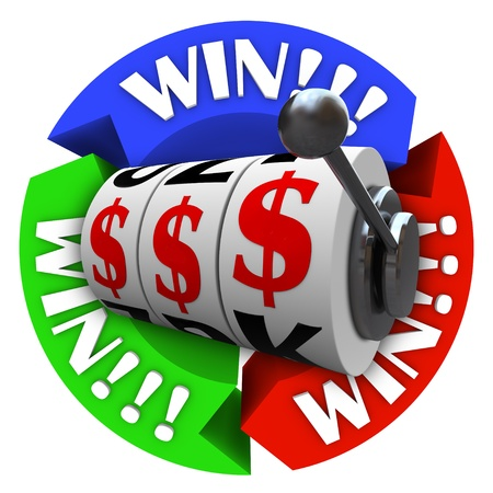 spinning wheel: The word Win repeated on several circular arrows around a slot machine whose wheels are lined up in dollar signs symbolizing a jackpot or big winnings