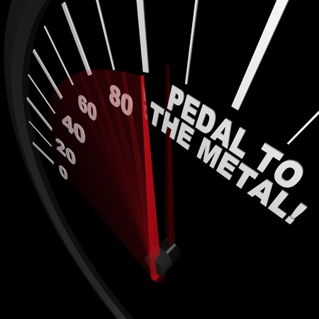 A speedometer with red needle pointing to the words Pedal to the Medal, illustrating the speed achieved when you set your mind to going faster toward a goal Imagens
