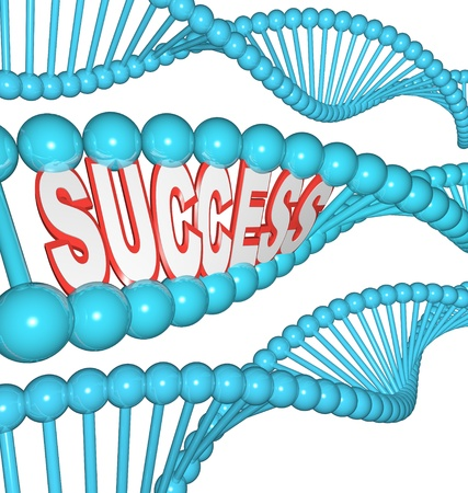 Het woord succes in een geïllustreerde bundel van DNA, dat succesvolle mensen zijn geboren om te winnen, en dat kracht, vastberadenheid en intelligentie kunnen erfelijke weergegeven: