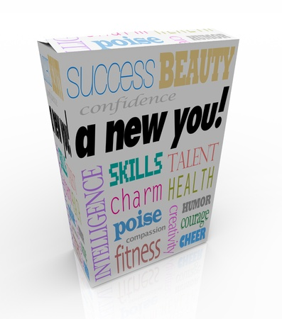 A product box with with the words A New You advertising instant self improvement with qualities such as success, beauty, intelligence, confidence, charm, poise, skills, compassion, cheer, creativity, humor, health, talent, fitness, and courage Stock Photo - 9892670