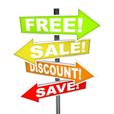 cheaper: Several colorful arrow street signs with words Free, Save, Discount, Sale representing advertising messages a store or retail merchant advertises to lure customers in a capitalist marketplace