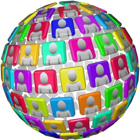 comunicarse: Muchas personas en un patr�n esf�rico, sus cabezas y hombros aparecen a azulejos en un patr�n global, simboliza las relaciones internacionales o una red social