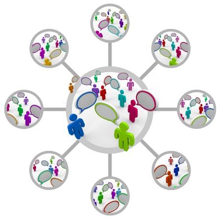 Een raster ter illustratie van de verbindingen tussen verschillende groepen mensen praten of over een onderwerp en verspreiden van de informatie aan andere gemeenschappen of teams Stockfoto