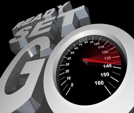 empezar: Las palabras de Ready Set Go con un veloc�metro con aguja que ilustra la creciente velocidad y competencia r�pida de una carrera de autom�vil u otro evento deportivo de carreras