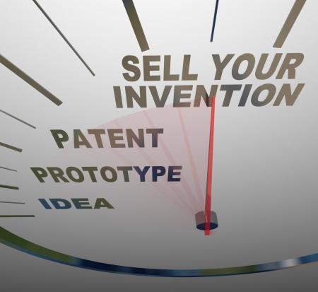 prototipo: Un velocímetro con las palabras vender su invención, patentes, prototipos, y la idea, que representa los pasos que debe seguir en la creación de un nuevo dispositivo y su venta a los clientes